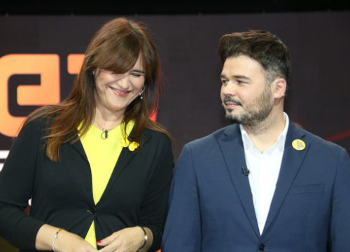 Laura Borràs (JxCat) and Gabriel Rufián (ERC) in April 2019 (by Bernat Vilaró)