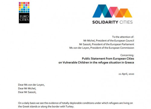 Eurocities letter by Ada Colau and other European mayors on unaccompanied migrant children in refugee camps