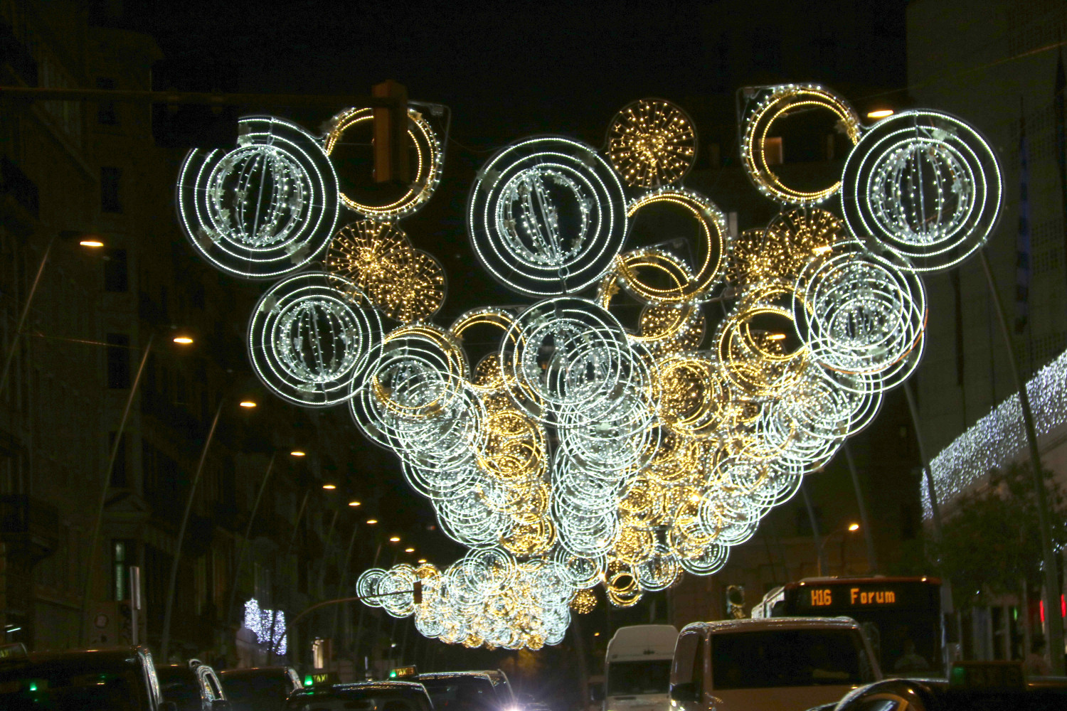 Christmas lights in Carrer de Pelai, Barcelona, 2020 (by Cillian Shields)
