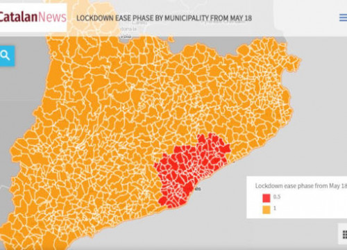 Map of Catalan municipalities by lockdown de-escalation phase from May 18 (by Guifré Jordan)