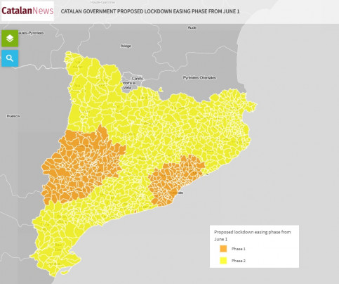 Map with the Catalan government proposal on lockdown easing phases from June 1
