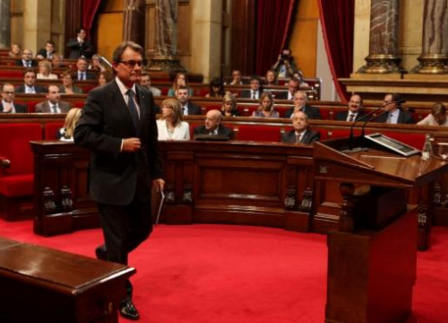 The President of the Catalan Government, Artur Mas, seconds before addressing the Catalan Parliament (by O. Campuzano)