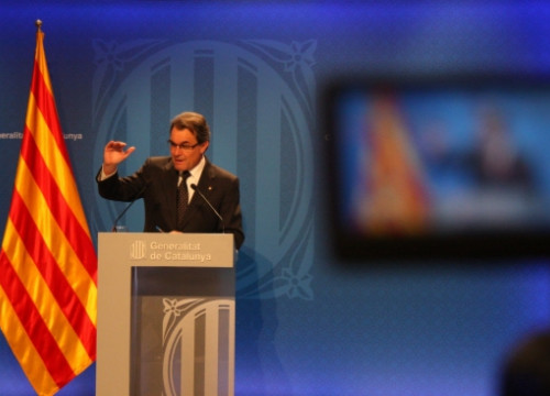The Catalan President, Artur Mas, in this Tuesday's press conference (by G. Sánchez)