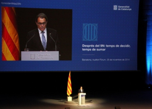 The President of the Catalan Government, Artur Mas, addressing Barcelona's Fòrum Auditorium (by R. Garrido)