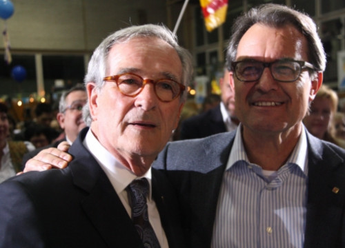 The current Mayor of Barcelona and CiU's candidate, Xavier Trias (left), next to the Catalan President, Artur Mas (by ACN)