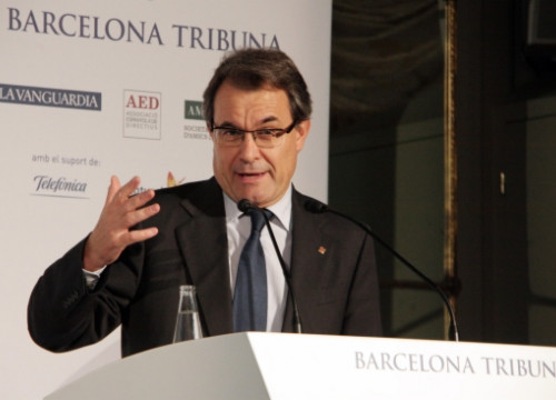 The President of the Catalan Government, Artur Mas, in a lunch meeting with businesspeople (by P. Mateos)