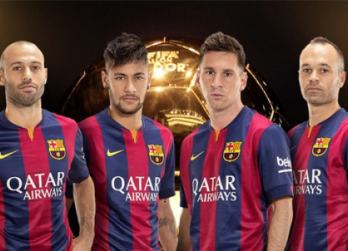 From left to right: Macherano, Neymar, Messi and Iniesta (by FC Barcelona)