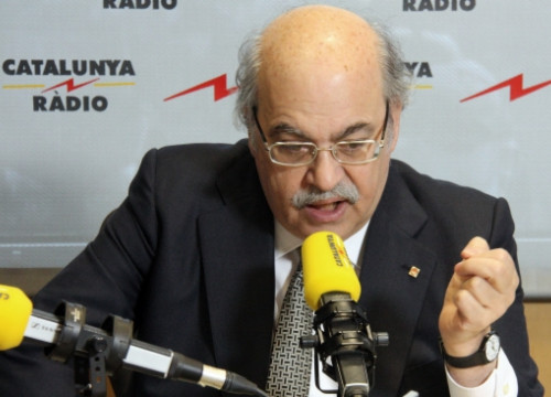 The Catalan Finance Minister, Andreu Mas-Colell, during this Wednesday's radio interview (by D. Dotú)