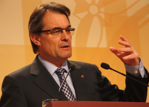 The Catalan President, Artur Mas, during this Tuesday's press conference (by R. Garrido)