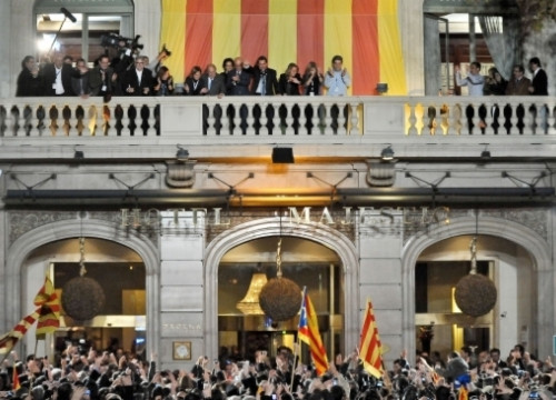CiU celebrates its clear victory in Barcelona's Majestic Hotel (by ACN)