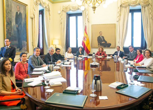 Image of the first meeting of the Spanish congress bureau on May 23, 2019 (by Congreso)
