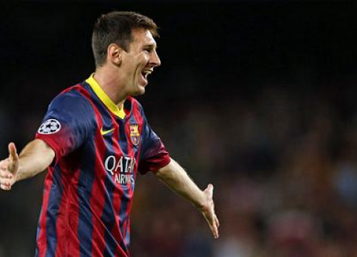 Leo Messi celebrating a goal against Ajax Amsterdam (by FC Barcelona)
