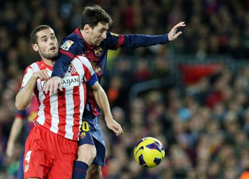 Messi playing against Atlético Madrid at the Camp Nou (by FC Barcelona)