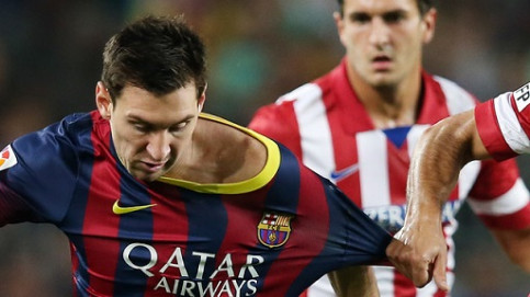 Leo Messi at the last match against Atlético Madrid (by FC Barcelona)