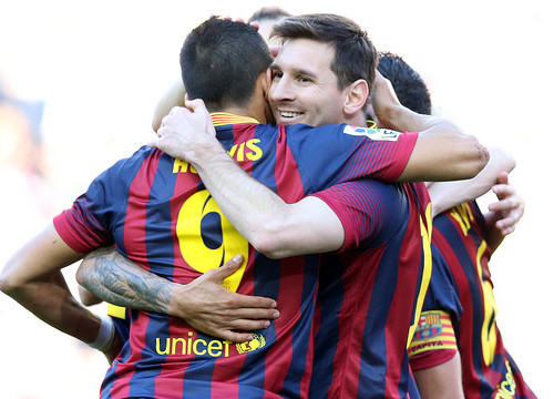 Barça players celebrating one of the three goals against Betis (by FC Barcelona)