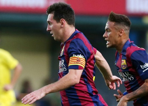 Leo Messi and Neymar in the recent match against APOEL of Nicosia (by FC Barcelona)