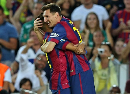 Messi and Neymar celebrate one of Barça's six goals against Mexican side Club León (by FC Barcelona)