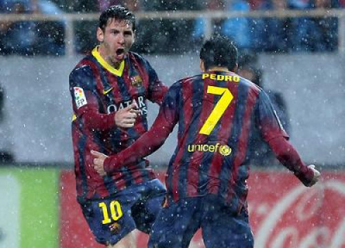 Leo Messi scored 2 goals against Sevilla (by FC Barcelona)