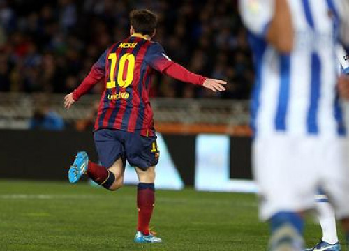 Leo Messi scored Barça's goal against Real Sociedad (by FC Barcelona)