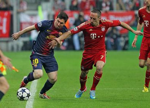 Messi and Ribéry in the last Champions League's semi-final game (by FC Barcelona)
