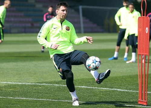 Leo Messi training on Tuesday, the day before the Manchester City match (by FC Barcelona)