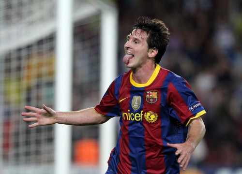 Messi celbrates he scored against Panathinaikos (by FC Barcelona)
