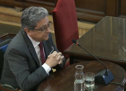 The former Spanish government delegate in Catalonia Enric Millo, testifying in Spain's Supreme Court on March 5, 2019