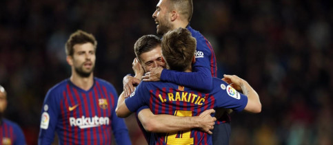 Jordi Alba, Ivan Rakitic, and Clement Lenglet celebrate together after one of the vital goals against Real Sociedad (Photo counrtest of FC Barcelona)