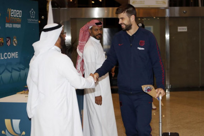 Barcelona defender Gerard Piqué arrives in Saudi Arabia for the 2020 Super Cup (by FC Barcelona)