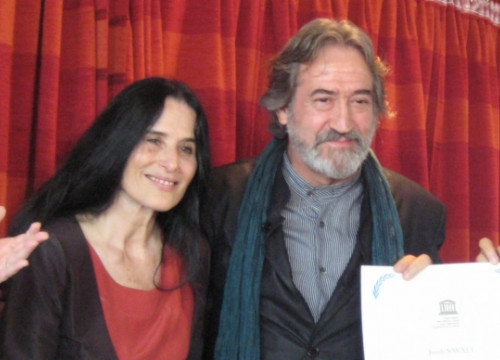 Montserrat Figueras and Jordi Savall when they received UNESCO's Artist for Peace recognition in 2008 (by ACN)