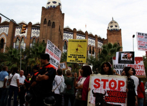 Animal rights supporters protesting in front of the Monumental Arena (by J. Pujolar)