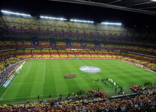 The mosaic covering the entire Barça's stadium (by Reuters)