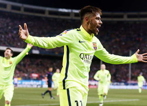 Neymar scored two goals against Atlético Madrid (by FC Barcelona)