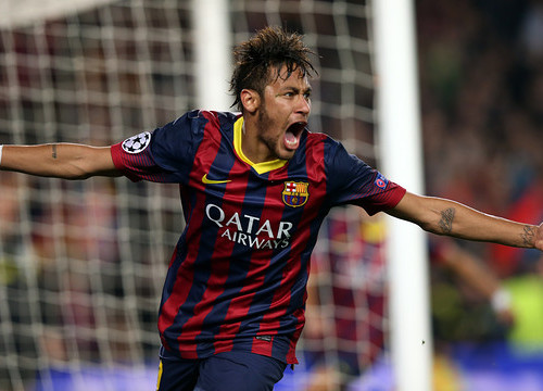 Neymar celebrating his goal against Atlético de Madrid (by FC Barcelona)