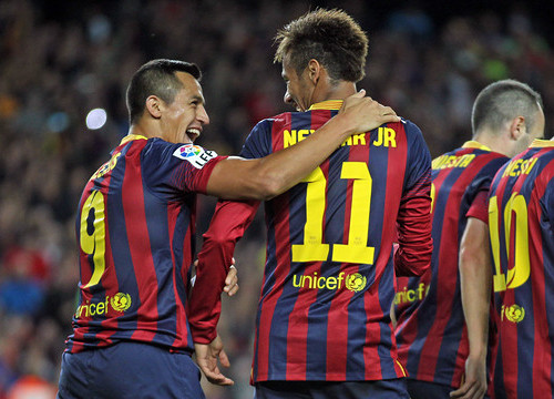 Neymar and Alexis at the last Spanish League game against Espanyol (by FC Barcelona)