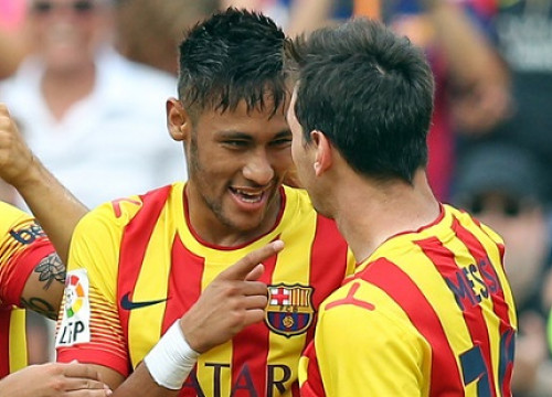 Neymar and Messi, wearing Barça's Catalan flag shirt, this last weekend against Bilbao (by FC Barcelona)