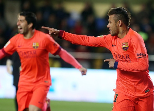 Luís Suárez and Neymar scored Barça's three goals against Villareal (by FC Barcelona)