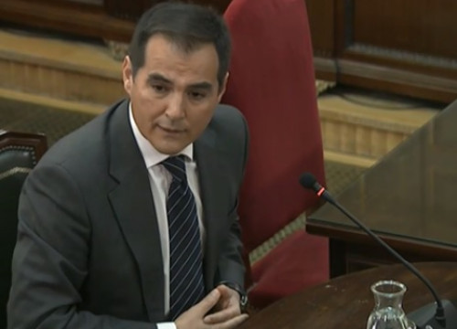 The former secretary of state for security of Spain, José Antonio Nieto, testifying in the independence trial