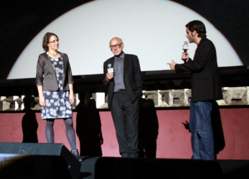 Michael Nyman (centre), together with Silvia Beck, director of 'Michael Nyman in progress', and Christian Pascual (P. Francesch)