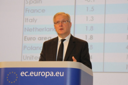 European Commissioner Olli Rehn at this Thursday's press conference (by A. Segura)