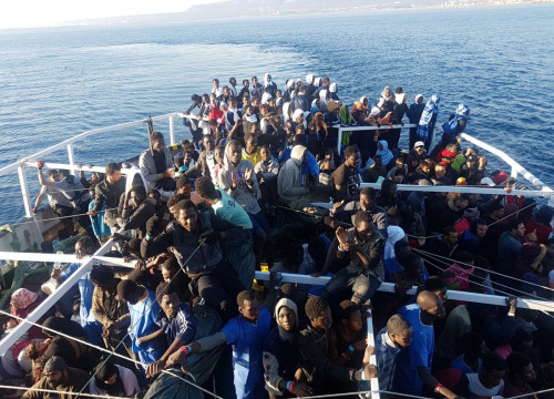 Refugees on the Proactiva Open Arms rescue ship (by Proactiva Open Arms)