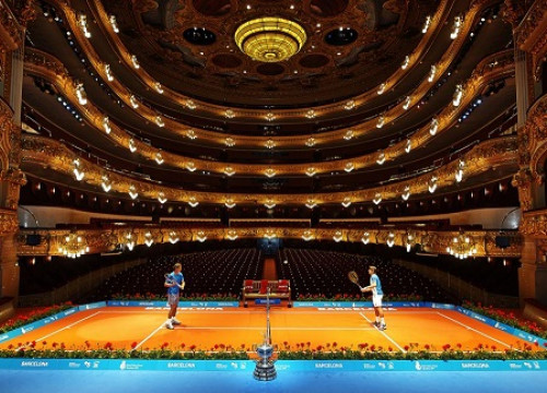 Rafa Nadal and David Ferrer at a photo opportunity at the Liceu opera theatre (by Barcelona Open Banc Sabadell press)