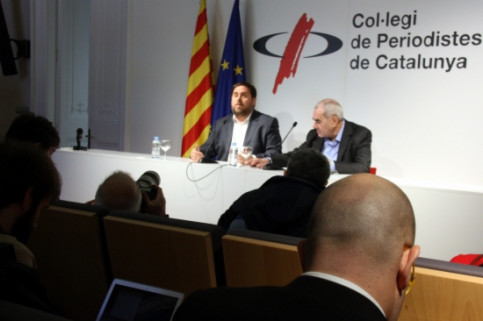 Oriol Junqueras (left) and Ernest Maragall (right) presenting the agreement reached (by ACN)