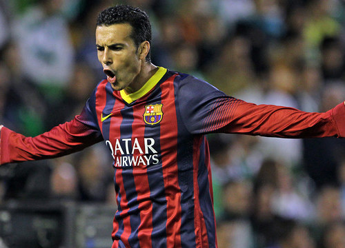 Pedro celebrating one of his greatest goal with FC Barcelona against Betis in 2013 (by FC Barcelona)