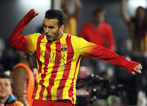 Pedro scored two goals against Cartagena (by FC Barcelona)
