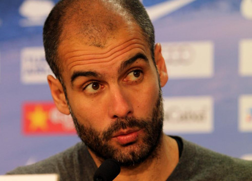 Pep Guardiola, FC Barcelona's coach, at today's press conference (by FC Barcelona)
