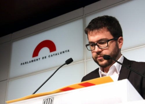The ERC's Spokesperson for economic affairs at the Catalan Parliament, Pere Aragonès, on Monday (by A. Moldes)