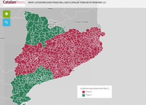 Map with the division of Catalan municipalities by lockdown ease phase from May 11 (by Guifré Jordan)