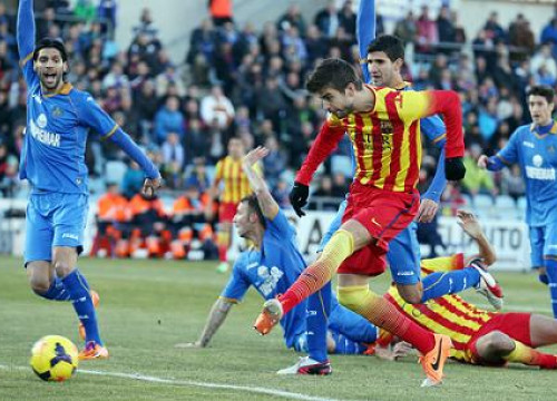 Piqué at the last Spanish League game against Getafe (by FC Barcelona)