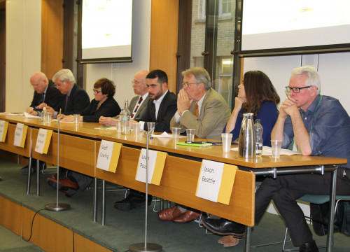 The speakers at the debate 'A democratic solution for Catalonia', organised by the APPG on Catalonia and ANC England at 'Atlee Suite', in the British Parliament (by ACN)